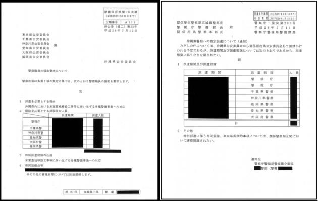 警察庁・沖縄公安委員会からの文書