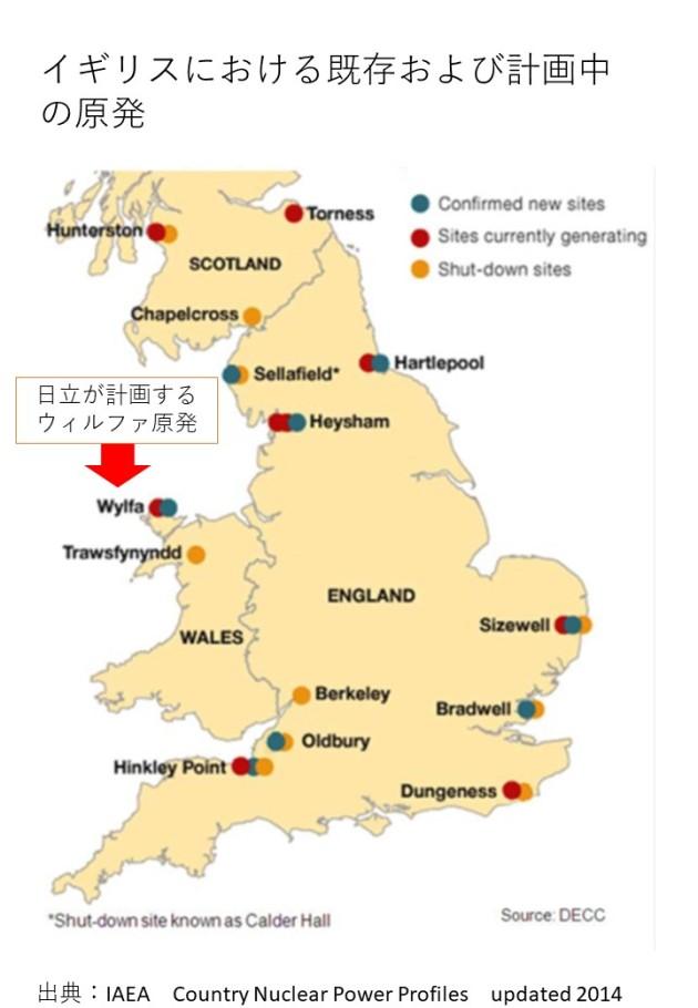 地図_イギリスにおける既存および計画中の原発